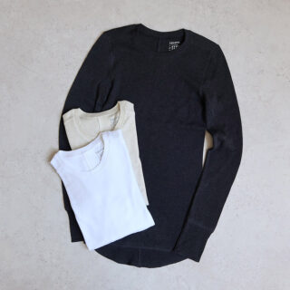1dozen イチダース |スポンディッシュコットン タイトクルーロングTシャツ【全3色】